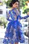 Vestido de cóctel Cremallera Joya Manga larga Capa de encaje Hasta la Rodilla - Página 2