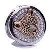 Diamantes con incrustaciones de círculo Metal plegable pequeño adorno de cumpleaños boda