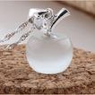 Piedra del ojo de manzana plata gato galjanoplastia corto collar y colgante de la manera