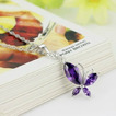 Moda púrpura diamante incrustaciones insectos collar y colgante de plata