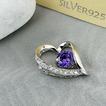 púrpura en forma de corazón de plata con incrustaciones diamantes joyas de las mujeres collar y colgante