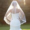Velo de novia de velo de encaje de una sola capa con peine velo de encaje corto