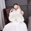 Piel de imitación boda chal cálido manto de novia de gran tamaño