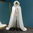 Capa larga con capucha de invierno mantón cálido de felpa capa gruesa blanca