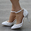 Sandalias de tacón alto sandalias de diamantes de imitación con cuentas zapatos de boda blancos