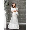 Dos ruedas glamour Terylene manga de sirena blanca enagua de la boda