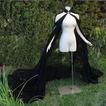 Abrigo de novia de capa de gasa negra con capa de capa