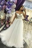 Vestido de novia Playa tul sexy Baja escote en V Cola Barriba Transparente
