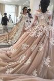 Vestido de novia Apliques Escote en V Otoño Natural Corte-A Formal