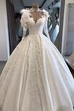 Vestido de novia Espectaculares Pura espalda Manga larga largo Escote en V
