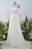 Vestido de novia Sencillo Abalorio Encaje Playa Capa de encaje Otoño