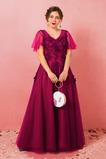 Vestido de fiesta Manzana Manga corta Drapeado primavera Capa de encaje