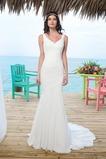 Vestido de novia Corte Sirena Volantes Adorno Gasa Sin mangas Natural
