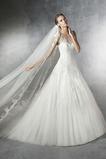 Vestido de novia tul Corte-A Con velo Joya Cola Barriba Cremallera