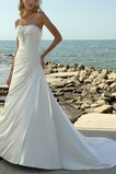 Vestido de novia Sin tirantes primavera Corte-A largo Satén Volantes Adorno