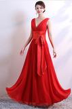Vestido de dama de honor Falta Lazos Corte-A Natural Sin mangas Baja escote en V