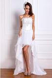 Vestido de novia Sin tirantes Asimètrico Gasa Natural Cordón Playa