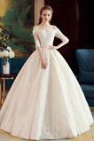 Vestido de novia Elegante Recatada Hasta el suelo Escote con Hombros caídos