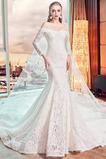 Vestido de novia Formal Camiseta Cordón primavera Escote con Hombros caídos
