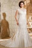 Vestido de novia Corte Sirena Formal Otoño Barco Natural Iglesia