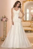 Vestido de novia Escote en V largo Sin mangas Otoño Fuera de casa Abalorio