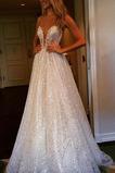 Vestido de novia Abalorio tul Corte-A Verano largo Baja escote en V