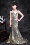 Vestido niña ceremonia Natural Falta Con lentejuelas Corte Sirena Verano Un sólo hombro