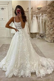 Vestido de novia Sin mangas Corte-A Escote de Tirantes Espaguetis Natural
