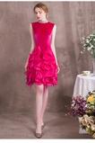 Vestido de noche primavera Hasta la Rodilla Abalorio Escote con cuello Alto