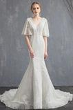 Vestido de novia Satén Escote en V Fuera de casa Otoño Cola Capilla