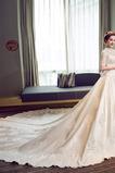 Vestido de novia Manga corta Bordado Escote con cuello Alto Sala largo