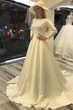 Vestido de novia Satén largo Natural Barco Botón Iglesia