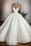 Vestido de novia Baja escote en V Apliques Encaje Capa de encaje Cremallera