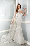 Vestido de novia Encaje Sala Alto cubierto largo primavera Natural