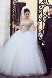 Vestido de novia Abalorio largo Manga corta tul Con velo Clasicos