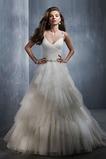 Vestido de novia Cinturón de cuentas Sin mangas Satén Escalonado Corte-A