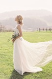 Vestido de novia Romántico Natural tul Apliques Barco Espalda medio descubierto