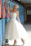 Vestido de novia Hasta la Tibia Fuera de casa Sin mangas Cremallera