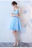 Vestido de cóctel Corte-A Apliques Glamouroso Encaje Escote de Tirantes Espaguetis