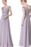 Vestido de noche Capa de encaje Escote en V Apliques Gasa Verano Elegante
