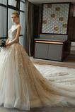 Vestido de novia Escote redondo Sin mangas Corte-A Natural Otoño Cordón
