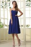 Vestido de dama de honor Hasta la Rodilla azul oscuro Elegante Corte-A Blusa plisada