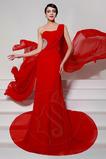 Vestido de noche Gasa Un sólo hombro Corte Sirena Sin mangas Natural