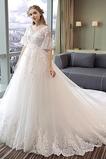 Vestido de novia Manga suelta Fuera de casa Natural Falta largo Capa de encaje
