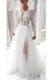 Vestido de novia Manga larga Elegante tul Verano Hasta el suelo Escote en V