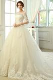 Vestido de novia Clasicos Mangas Illusion Otoño Cordón Recatada Corte princesa