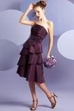 Vestido de dama de honor Sin tirantes primavera Natural Pera tafetán Espalda medio descubierto