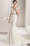 Vestido de novia Elegante Iglesia Botón largo Corte Sirena Encaje