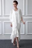Vestido de madrina Asimétrico Dobladillo Moderno Encaje Con Chaqueta Escote redondo