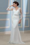 Vestido de novia Escote en V Delgado Abalorio largo Otoño Mangas Illusion